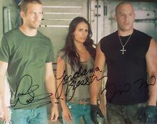 Paul Walker, Vin Diesel And Jordana Brewster Autographed 8 1/2 X 11 With COA