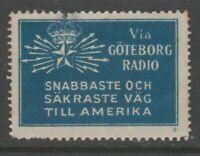 Sweden America Telegraph Cinderella stamp 7-9-17 scarce item no gum- small fault