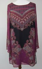 Sequin Hearts Scarf Print Sheer Long Sleeve Dress - Juniors Large NWT