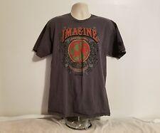 Mens Hard Rock Cafe John Lennon Imagine Theres No Hunger Adult Large Gray TShirt