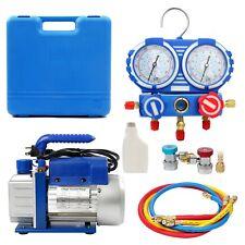 CA SHIP 3.5CFM/4CFM/5CFM 1/4HP Air Vacuum Pump HVAC Kit AC A/C Manifold Gauge