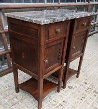Back from France! Divine Pair Vintage French Oak & Marble Top Bedside Cabinets