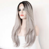 "Cap+24"" Gray Lace Front Wig Long Wavy Ombre Heat Resistant Synthetic Hair Wigs"