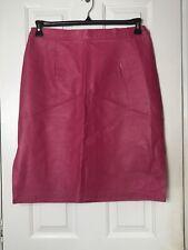 Venezia Lane Bryant Hot Pink Leather  Straight Skirt Slit H2 Midi