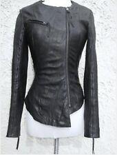 Rare Iconic Kate Moss @ Topshop Asymmetric Soft Leather Black Biker Jacket Uk12