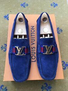 LOUIS VUITTON MENS BLUE SUEDE MONTE CARLO LOAFERS SHOES UK 9.5 US 10.5 43.5 WEB