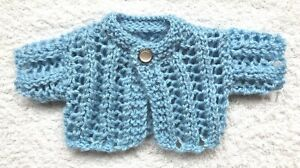 ++TEDDY CLOTHES++ new hand knitted vintage style cardigan for a 9 inch bear.