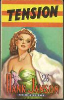 RARE PULP THRILLER PAPERBACK - TENSION - HANK JANSON 2ND IMP. 1957 VG - NF