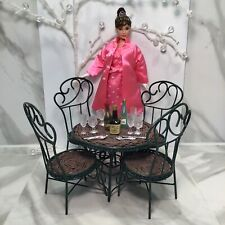 Metal-Wicker Boyds Bear Cafe Table & Chairs + Misc Table Ware For Doll Diorama