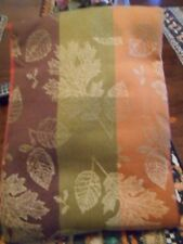 "Indian Summer Tablecloth 60"" x 84"" Leaves in Stripe Jacquard Sonoma Oval Cotton"