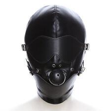 Leather Gimp Bandage Hood Sensory Heavy Duty Mask Blindfold Cospaly Game Mask