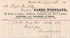 Vintage 1881 James Westgate Lumber Hand Signed Letterhead - Wakefield Mass