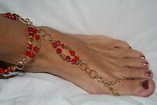 Versatile -5 Pieces Of Jewelry In 1 Red and Gold Fancy Barefoot Sandal -