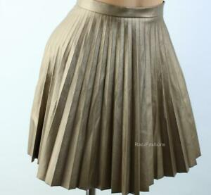 Victoria's Secret Coated Pleated Skirt Copper Metallic Faux Leather 2 XS