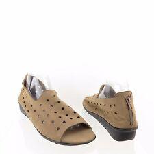 Women's VAN ELi Elbert Shoes Beige Suede Perforated Flats Sandals Size 12 M