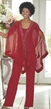 Ashro Red Silver Beaded Formal Tahiti Pant Suit Party Cruise S M L XL 1X 2X 3X