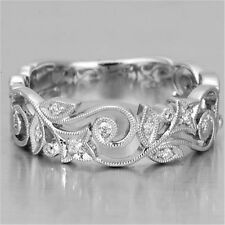 Men Women 925 Silver Ring Flower Jewelry White Topaz Wedding Engagement Size6-10