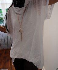 2Tlg Set Shirt Tuch Neu 44 46 Cotton Oversize Blogger Trend Tunika Spitze XXL