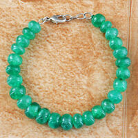 198.50 Cts Earth Mined 8 Inches Long Green Emerald Round Beads Bracelet (RS)