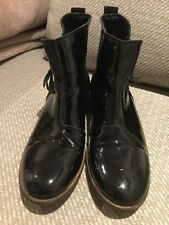 Ladies Next Black Patent Leather Zip Up Flat Ankle Boots Size 3 EU 36 Casual