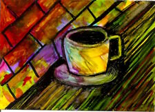 Aceo Coffee Cup Reflections Abstract Lights Alcohol Ink Painting Penny StewArt