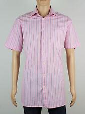 """Joseph Turner da uomo a righe rosa manica corta camicia taglia XL collo 16 """" (M5025)"""