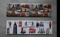 METALIC SET OF 2 RECTANGLE FRIDGE MAGNETS  LONDON ICONS SOUVENIR FREE UK POSTAGE