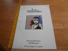 Les Miserables Souvernir Brochure program Los Angeles 1988 w/ actors insert