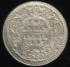 British India 1887 C  ghosted Victoria Silver 2 anna AU-BU  RARE