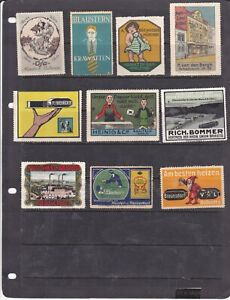 POSTER STAMPS, A COLLECTION OF 10 GERMAN ADVERTISING LABELS