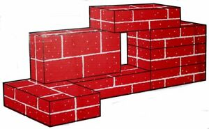 Brick Building Blocks (Red, Corrugated)