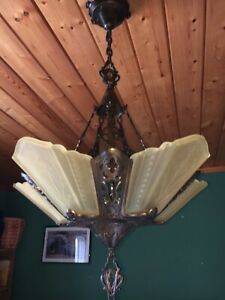 30s Art Deco Yellow Slip Shade Glass 5 Light Fixture Virden Chandelier Antique
