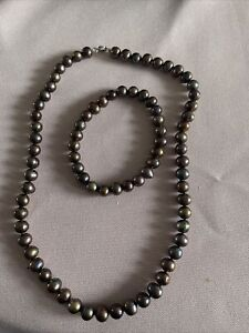 Beautiful Black Pearl Necklace With Matching Bracelet