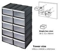 10 pcs Plastic Parts Storage Bins Boxes & Tool Tidy Kit Shed Garage Workshop