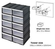 10 un. piezas de plástico de almacenamiento de contenedores Cajas & herramienta ordenado Kit Cobertizo Garage Taller