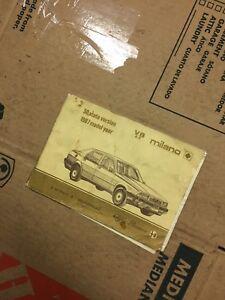 Alfa Romeo Milano - Owner's Manual