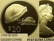 Fiji 1978 Silver $20 NGC Proof 67 Ultra Cameo~Rare 3,869 Minted~Golden Cowrie~FS