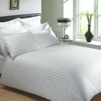 """EGYPTIAN COTTON 400 THREAD CLASSIC STRIPE WHITE KING SIZE 12"""" DEEP FITTED SHEET"""