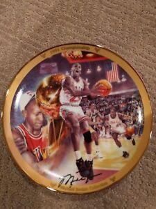 """Michael Jordan """"1991 Championship"""" Collectors Plate Upper Deck Bradford #'d"""