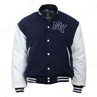 Vintage Style NY Baseball JACKET - Navy Blue Mens Letterman Jersey - All Sizes