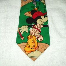 Tie Novelty Cartoon Disney Mickey Donald Goofy Baseball