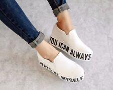 Women High Hidden Heels Platform Slip On loafers Athletic Sneakers Shoes Creeper