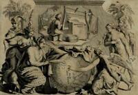 Engraved frontispiece 1706 Gorree globe mythological figures allegory