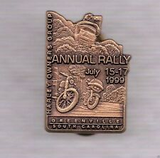 Harley Davidson H.O.G. Annual Rally Pin Greenville SC July 15 - 17, 1999