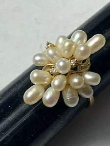 14k Yellow Gold Pearl and Diamond Grape Cluster Ring Size 7.5      3.62gr