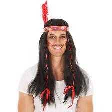 Perruque indien avec plumes Indien perruque unisexe Chef Indienne Cheveux