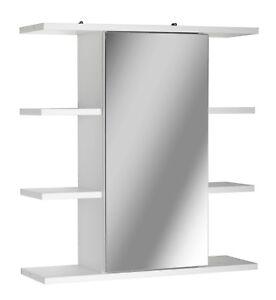 White Wooden Wall Mounted Mirror 1 Door Bathroom Cabinet Storage Accessories NEW