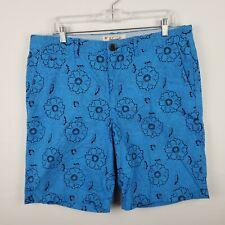 Original Penguin Munsingwear Mens Shorts Blue Floral Flat Front Size 34 Cotton