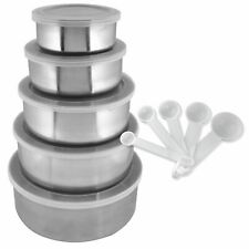15 Piece Stainless Steel Kitchen Bowl Set 5 Bowls 5 Lids 5 Measuring Spoons New