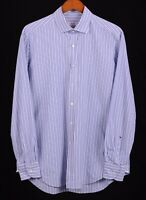 Glanshirt Made in ITALY Blue Striped 100% Cotton Button Down Dress Shirt 16.5